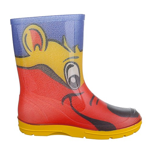 Ital-Design Kinder Schuhe, GST-K120, Stiefel Mädchen Jungen Gummi Regenstiefel Rot Gelb