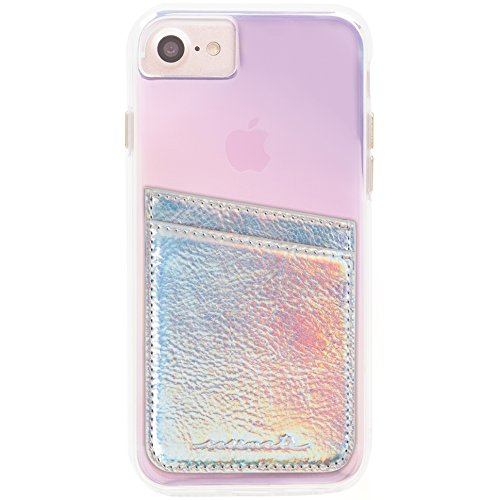 Case-Mate Pockets - Ultra-slim Card Holder, Self Adhesive Credit Card Wallet - Universal fit (iPhone, Galaxy, more) - Iridescent (Phone Pocket)