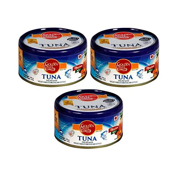 Golden Prize Tuna Salad with Vegetables Mexican Style 185 GMS Each - Pack of 3 Units