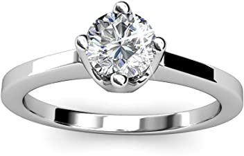 4fa7f93a7 Cate & Chloe Lila White Gold Solitaire Engagement Ring with Swarovski  Crystals, 18k Gold Plated