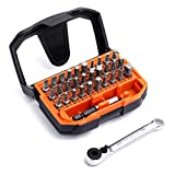 Tacklife 32pcs 1/4'' Mini Ratchet Screwdriver Bit Set, Extension Bit Holder and Socket Adapter Included, High Torque 72-Tooth Gearhead, 30 Multi Bits for Ratchet Wrench, Screwdriver or Drill, HBWS1A