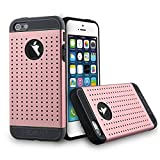 HEVANT iPhone 5s Case, iPhone 5s Armor Case,Metal plate rubber case for iPhone 5s-Pink