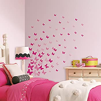 RoomMates RMK2713SCS Pink Flutter Butterflies Peel And Stick Wall Decals Part 60