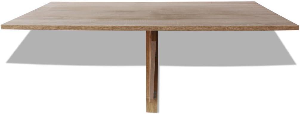 Festnight Wall Mounted Folding Table 100 x 60 cm with Load Capacity 120 kg (Oak/White) Oak