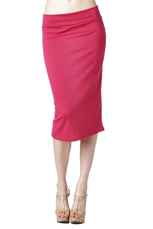 82 Days Women'S Ponte Roma Regular To Plus Below Knee Pencil Skirt - Solid