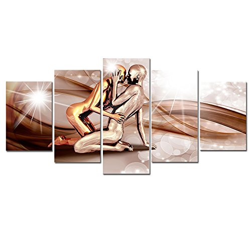 AWLXPHY Decor-Abstract Canvas Wall Art with Gold Lover Kiss Painting Framed 5 Panels for Men Bedroom Decor Retro Nude Figures Prints Artwork Giclee(Brown, W40 x H20) (Retro Nude Male)