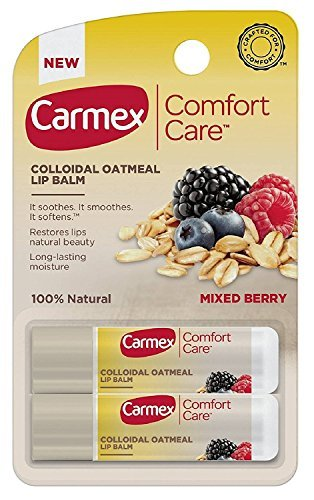 Carmex Comfort Care Lip Balm - With Colloidal Oatmeal - 100% Natural - Mixed Berry - 2 Count Sticks Per Package - One (1) Package (Total of 2 Lip Balm (0.15 Ounce Solid Fragrance)