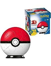 Ravensburger 3D-pussel 11256 – Pussel boll Pokémon Pokéballs – Pokéball Classic 11256 – 54 bitar – för Pokémon fans från 6 år