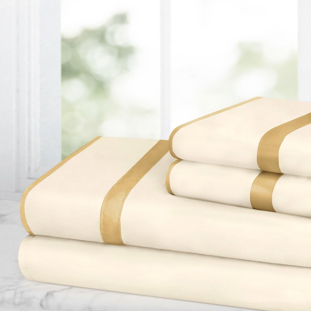 Egyptian Luxury Bed Sheet Set – 1500 Hotel Collection w/ Beautiful Satin Band Trim - Ultra Soft Wrinkle & Fade Resistant Microfiber, Hypoallergenic 4 Piece Set- Queen - Cream/Gold