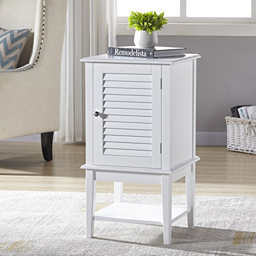 White Finish Bathroom Cabinet Storage Floor Cabinet Free Standing with Shutter Door and Bottom Shelf by eHomeProducts