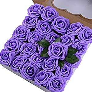 Breeze Talk Artificial Flowers Lavender Roses 50pcs Realistic Fake Roses w/Stem for DIY Wedding Bouquets Centerpieces Arrangements Party Baby Shower Home Decorations (50pcs Lavender) 68