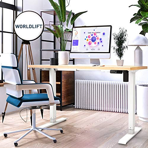Electric Standing Desk Frame - WORLDLIFT Height Adjustable Sit Stand Standing Desk Base Workstation, Stand Up Computer Desk with Automatic Memory Smart Keyboard (White Frame Only)