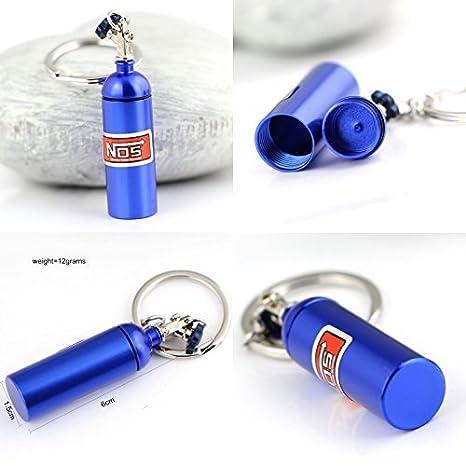 Nabati? Creative nueva nos – Llavero, diseño de bombona de óxido nitroso clave cadena anillo llavero Stash píldora caja de almacenamiento Turbo ...