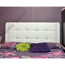 White/Black/Brown Marmaris Leather Headboard Single Double Kingsize Queen New (Length 3FT, White (Height 20)) by FunkyBuys