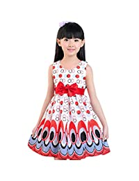Changeshopping(TM)New Kids Girls Bow Belt Bubble Peacock Dress Party Clothing (3-4 years, Red)