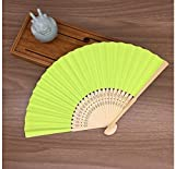 Lime Green Mulit Colors Bamboo&Paper Pocket Fan Folding Hand Held Fans Abanicos Para Boda Leques De Casamento