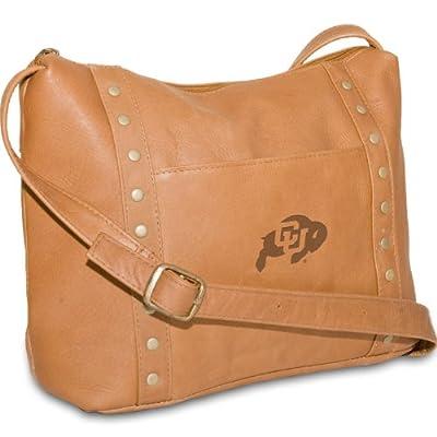 NCAA Colorado Buffaloes Tan Leather Women's Top Zip Handbag