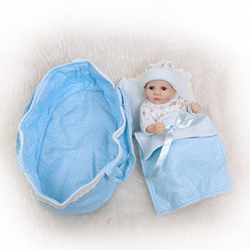 iCradle 10inch 26cm Reborn Doll Alive Full Body Soft Vinyl Silicone Realistic Looking Baby Newborn Dolls Anatomically Correct Handmade Xmas Birthday Gift (Boy) (Reborn Baby Dolls Mini)