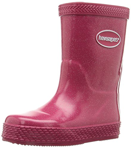 Havaianas Girls' Galochas Glitter Rain Pull-On Boot, Rose, 29 BR(13 M US Little - Boots Havaianas