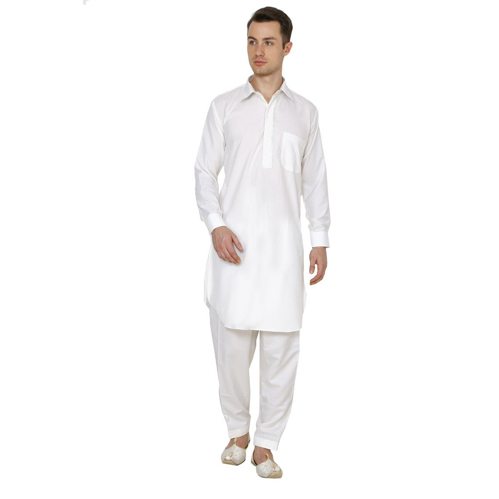 Royal Kurta Men's Polycotton Embroidered Pathani Suit 715-PS-TC-WHITE-