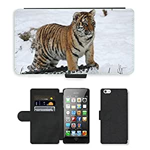 PU LEATHER case coque housse smartphone Flip bag Cover protection // M00110348 Winter Tiger Cub nieve del gato grande // Apple iPhone 5 5S 5G