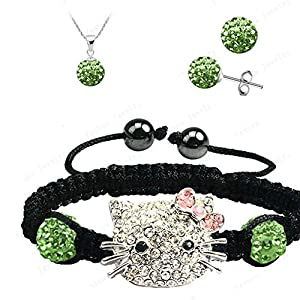 Fashion Jewelry ~ Hello Kitty Disco Ball Shamballa Necklace Earrings and Bracelet Set Light Green