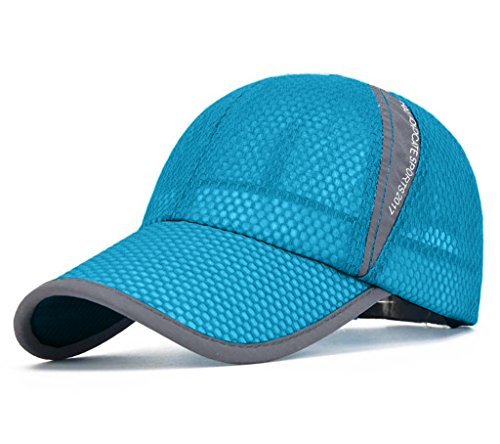 CRYSULLY Unisex Plain Baseball Cap Adjustable Curved Visor Hat Sport Breathable Mesh Quick Dry Summer Hats Light Blue