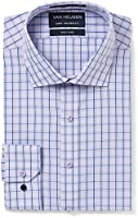 Van Heusen Men's Euro Fit Shirt Check, Mauve/Navy, 38