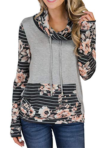Tees Hoodie Stripe Tops (Asvivid Womens Cowl Neck Striped Floral Printed Cozy Sport Pocket Pullover Drawstring Sweatshirt T-Shirt Tops Plus Size 1X Floral2)