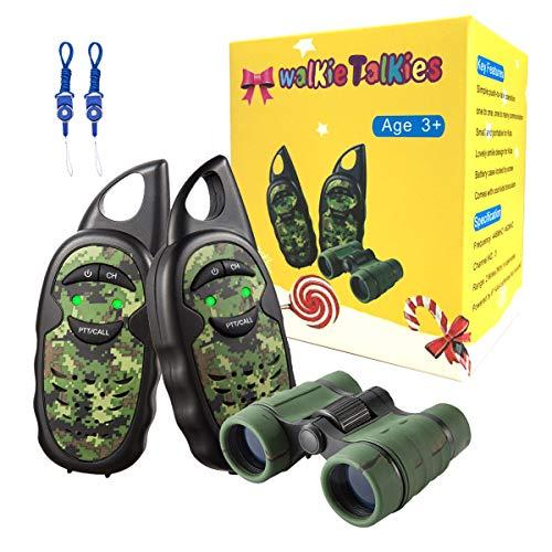 Walkie Talkies for Kids with Binoculars, Lanyards, 2 Mile Transmission Kids Walkie Talkies, Durable Rugged Design 2 Way Radios for Boys in Age 3,4,5,6,7,8 (Army Walkie Talkies)