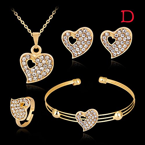 Wedding Necklace Bracelet Rings Earrings Jewelry Set Lady Women Rhinestone Ear Studs Bangles (D)