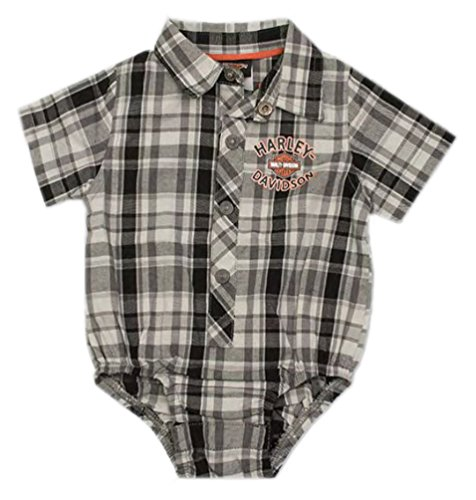 Harley-Davidson Baby Boys' Plaid Short Sleeve Woven Shop Creeper 3060795 (18M)