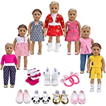 Howona 18 inch Doll Clothes Gift Girls - Include 7 Set Toys Doll Outfits + 2 Pairs Shoes Accessories fit American Girl Dolls