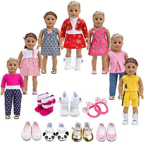 Howona 18 inch Doll Clothes Gift Girls - Include 7 Set Toys Doll Outfits + 2 Pairs Shoes Accessories fit American Girl Dolls (And Clothes Accessories)
