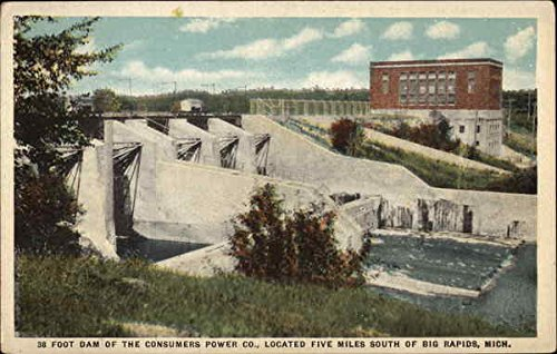 foot-dam-of-the-consumers-power-co-big-rapids-michigan-original-vintage-postcard