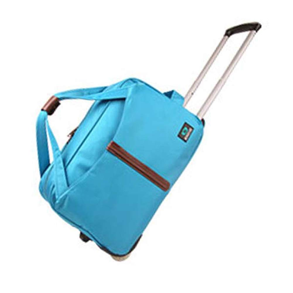 Travel Bags Solid Color Waterproof Portable Pull Rod Trolley Case Luggage Suitcases Carry On Hand Luggage Durable Hold Tingting Color : Blue, Size : 502529cm