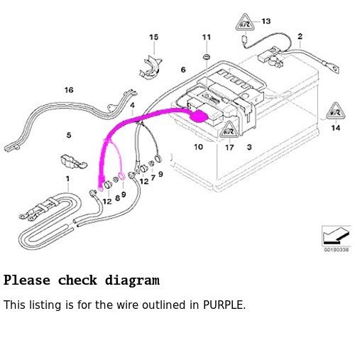 5038149 Bmw E82 E90 E92 Battery Cable Positive Terminal To Cable Ground Grounding Wire on Bmw Engine Parts Diagram