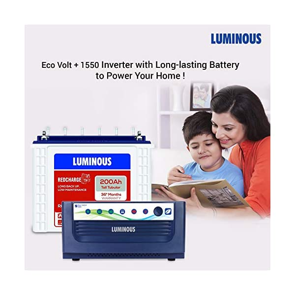 Luminous Eco Volt+ 1550 Pure Sine Wave Inverter with Red Charge RC 25000 200 Ah Tall Tubular Battery for Home, Office… 2021 June [Inverter] type: pure sine wave output ensuring the safety of your appliances; battery compatibility: compatible with 2 batteries. The inverter supports all types of batteries like a flat plate, tubular, vrla, smf Input voltage range: 85-290v; capacity and dc voltage: 1400va per 12v; max. charging current: 17a Protection: overload, deep discharge, short-circuit, reverse polarity and input mains protection