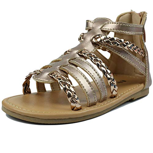 MuyGuay Toddler Girls Gladiator Sandals with Braided Strappy Girls Sandals Rose Gold Summer Shoes with Zipper for Baby Girls/Little Girls (11.5 M US Little Kid, Rose -