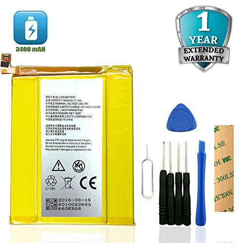 for MetroPCS ZTE ZMax Pro Z981 Replacement Battery Li3934T44P8H876744 Adhesive Tool (Best Replacement Battery For Ztes)