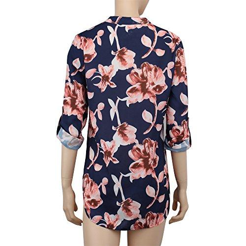 Blouses Tee Tops Taille Blouse Chemise Femme et Manche Shirt Bleu Femme Imprim Shirt Longue Weant Blouse Casual Chemisiers Femme Col V Dcontract Grande gvgRxw