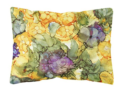- Caroline's Treasures Abstract Flowers Purple & Yellow Fabric Decorative Pillow, 12