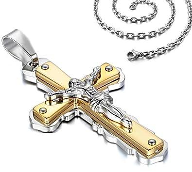 Herren Silber Edelstahl Metall Halskette Gold Jesus Christus Schwarz Uhren & Schmuck