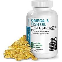 Bronson Omega 3 Fish Oil Triple Strength 2720 mg, Non-GMO, Gluten Free, Soy Free, Heavy Metal Tested, 1250 EPA 488 DHA, 180 Softgels