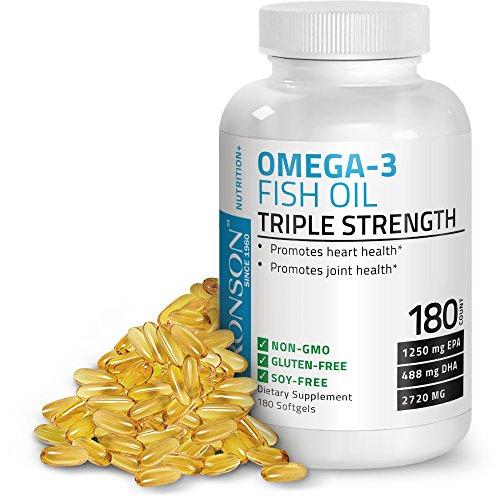 Bronson Omega 3 Fish Oil Triple Strength 2720 mg, Non-GMO, G