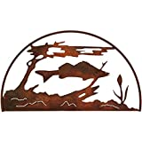 7055 Inc Rustic Elements Fish Hoop Metal Wall Art, Natural Rust Patina For Sale