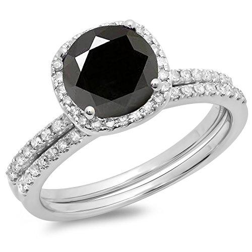 1.75 Carat (ctw) 10K White Gold Black & White Diamond Halo Engagement Ring Set 1 3/4 CT (Size 6)