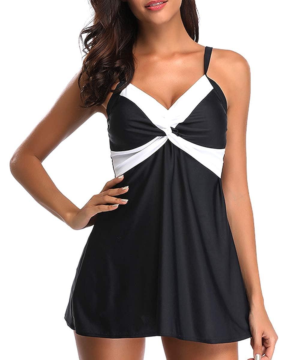 Black White Wave Zando color Splicing Tankini Boyshort Swimsuit Two Pieces Stylish Sexy Bikini