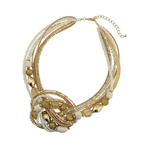 Bocar Seed Beads Antique Gold Multilayer Statement Collar Necklace (NK-10345-light ()