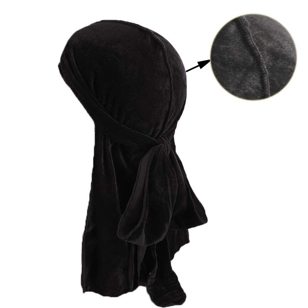 HADM Durag and Bonnet Set with Silky /& Durag Long Tail for Women Men 360 Wave Cap Frizzy Curly Hair Head Cover
